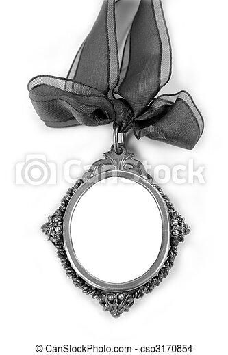 Cameo silver locket with tape loop copyspace - csp3170854