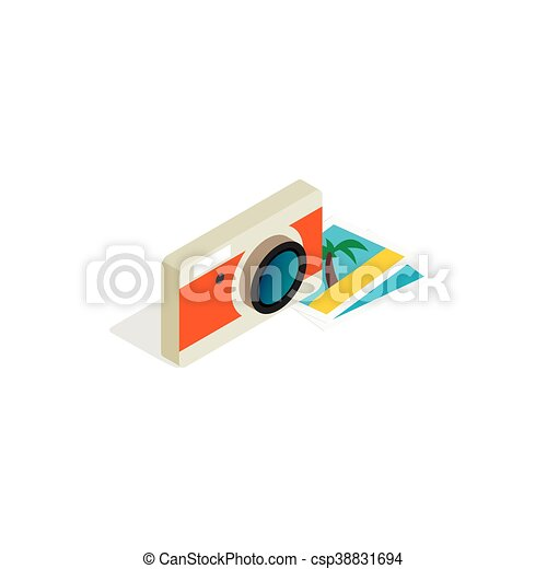 Camera and photos icon, isometric 3d style - csp38831694