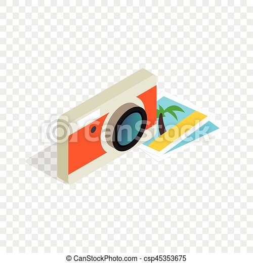 Camera and photos isometric icon - csp45353675