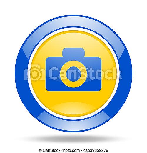 Camera Blue And Yellow Web Glossy Round Icon Camera Round