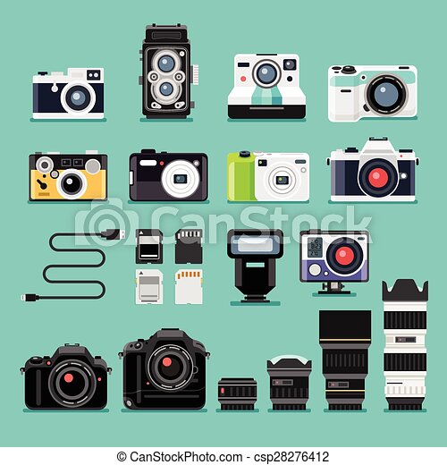 Camera flat icons. Vector illustration. - csp28276412