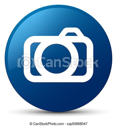 Camera icon blue round button - csp50668047