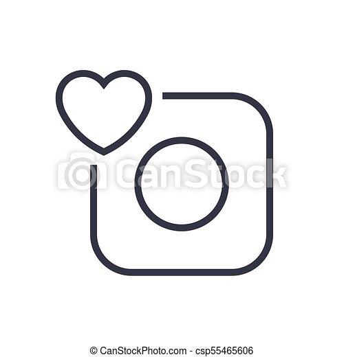 Camera Icon Camera And Heart Eps 10 Editable Stroke