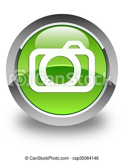 Camera icon glossy green round button - csp35064146