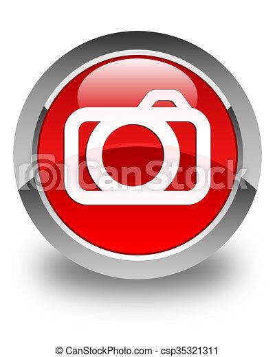 Camera icon glossy red round button - csp35321311