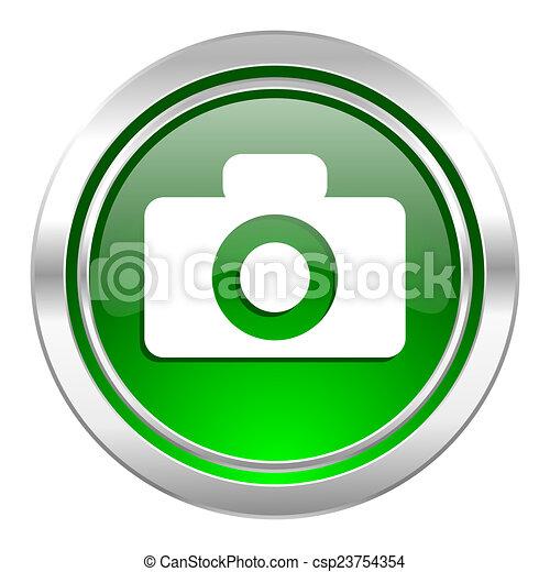 camera icon, green button - csp23754354
