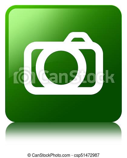 Camera icon green square button - csp51472987