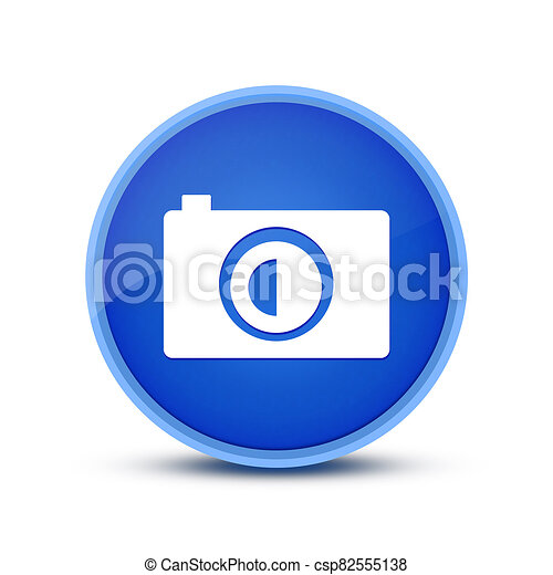 Camera icon isolated on special blue round button abstract - csp82555138