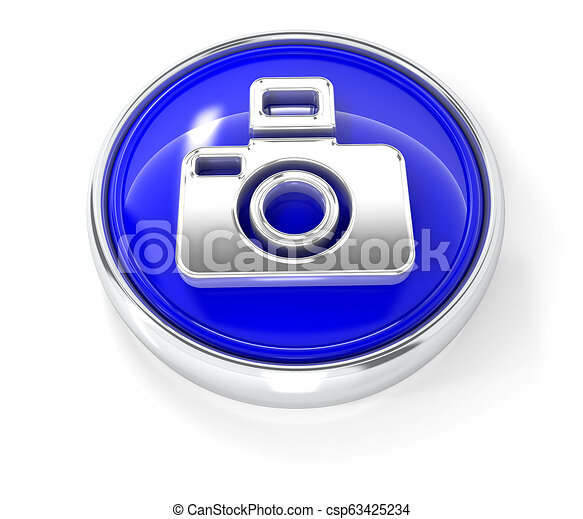 Camera icon on glossy blue round button - csp63425234