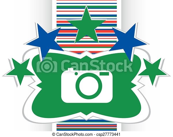Camera icon on round internet button original illustration - csp27773441
