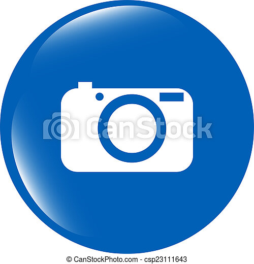 Camera icon on round internet button original illustration - csp23111643