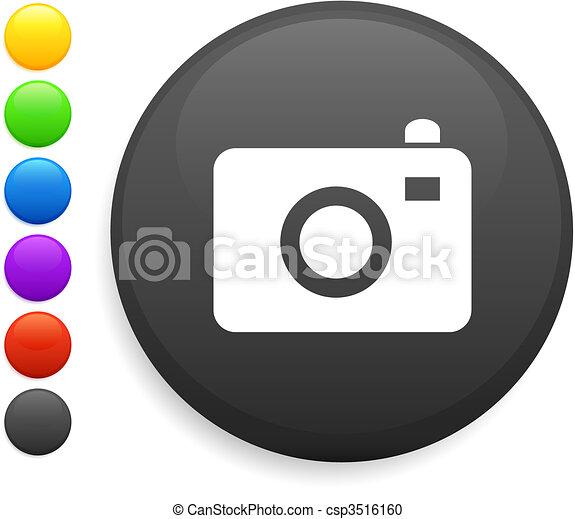 camera icon on round internet button - csp3516160