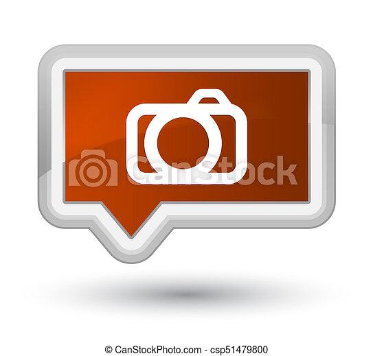 Camera icon prime brown banner button - csp51479800