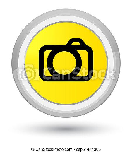 Camera icon prime yellow round button - csp51444305