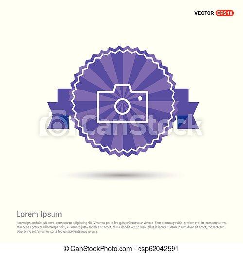 Camera Icon - Purple Ribbon banner - csp62042591