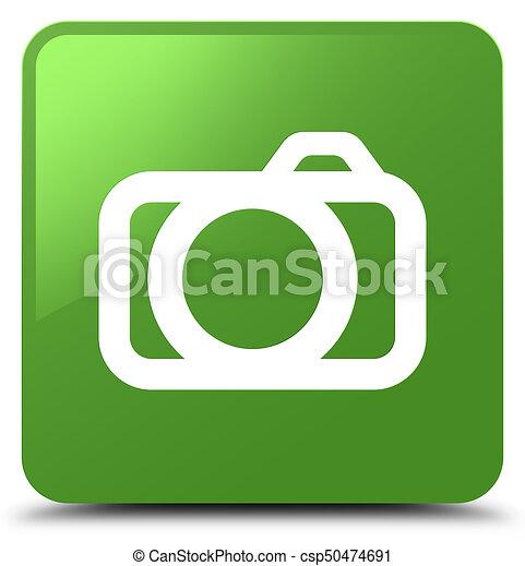 Camera icon soft green square button - csp50474691