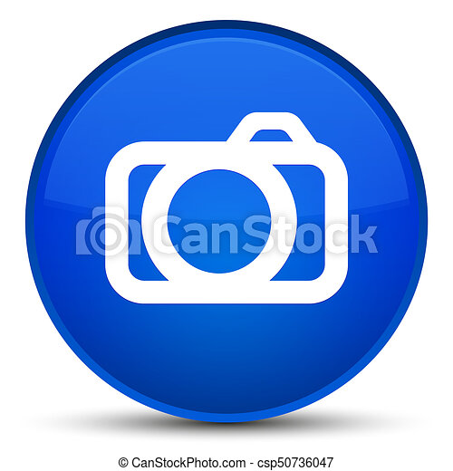 Camera icon special blue round button - csp50736047