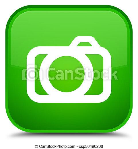 Camera icon special green square button - csp50490208