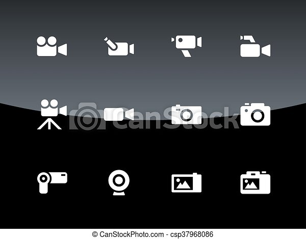 Camera icons on black background. - csp37968086