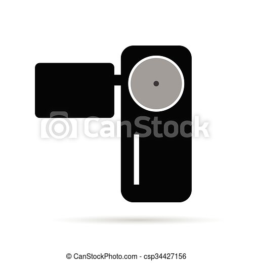 camera illustration in black - csp34427156