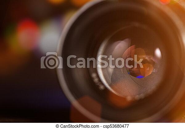 Camera lens with lense reflections, macro shot. - csp53680477