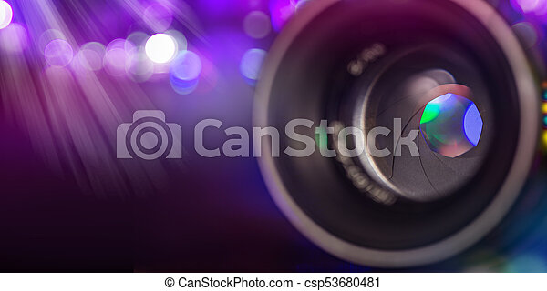 Camera lens with lense reflections, macro shot. - csp53680481