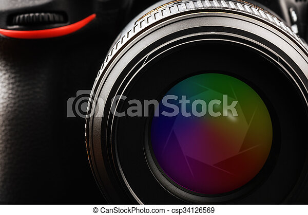 Camera lens with shutter - csp34126569