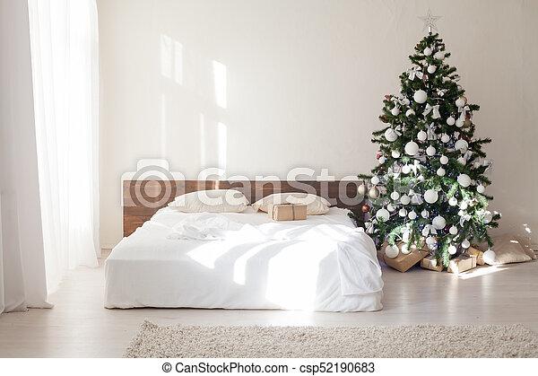 Camera Letto Albero Letto Decorazione Anno Nuovo Natale Camera Letto Albero Letto Decorazione Rozhdetvenskim Anno Canstock
