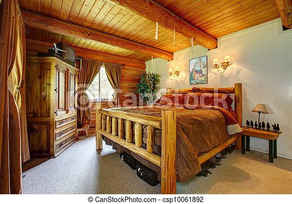 Camera letto, ceiling., interno, legno, cowboy. Cowboy ...