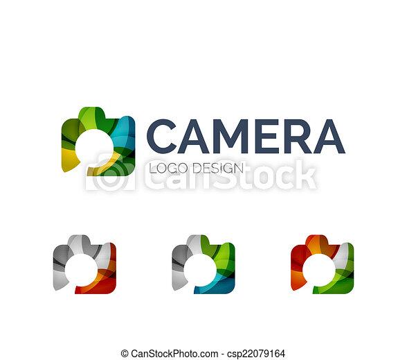 Camera logo design made of color pieces - csp22079164
