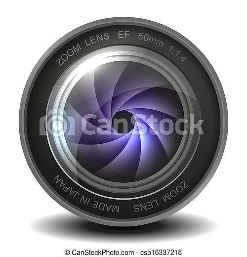 Camera photo lens with shutter. - csp16337218