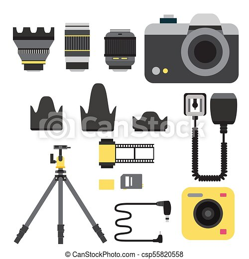 Camera photo vector studio icons optic lenses types objective retro photography equipment professional photographer look illustration - csp55820558