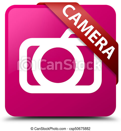 Camera pink square button red ribbon in corner - csp50675882