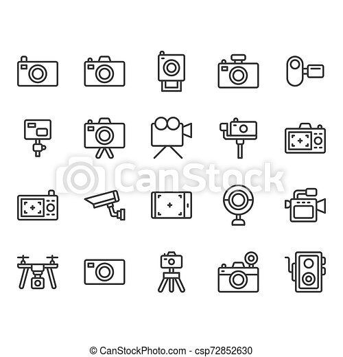 Camera related icon set. Vector illustration - csp72852630