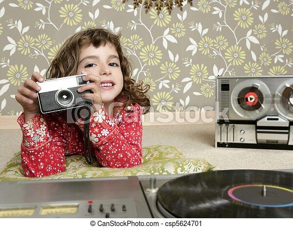 camera retro photo little girl in vintage room - csp5624701