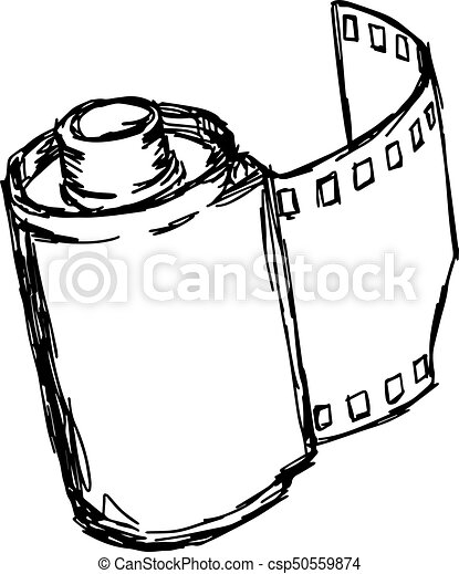 camera roll vector illustration sketch hand drawn with black lines, isolated on white background - csp50559874