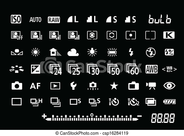 Vector Camera Settings Symbols For Professional Vector Clip Art