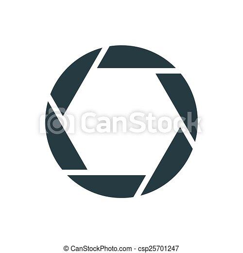 Camera shutter, simple conceptual logo - csp25701247