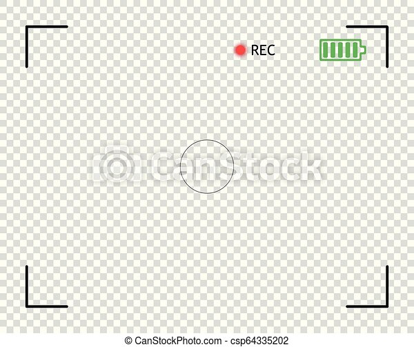Camera viewfinder, digital video, photo focus  Element vector overlay  screen frame borders the snapshot  Transparent isolated background