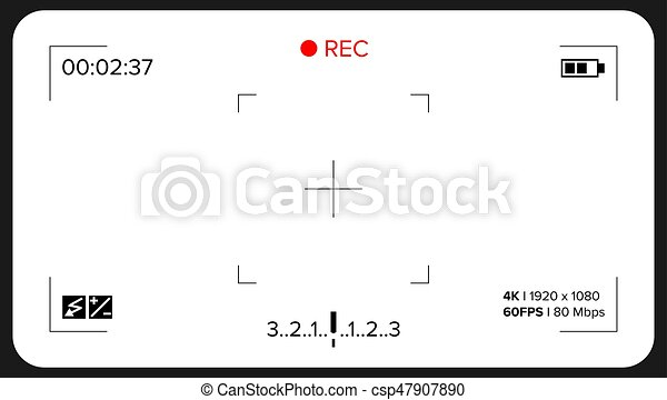 Camera Viewfinder Vector. Exposure And Video Camera Settings. Template - csp47907890