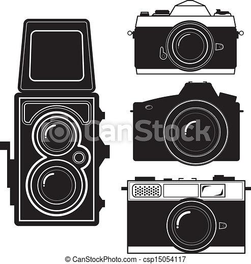 camera vintage camera vector camera and vintage camera set isolate rh canstockphoto com Vintage Camera Background old camera clipart