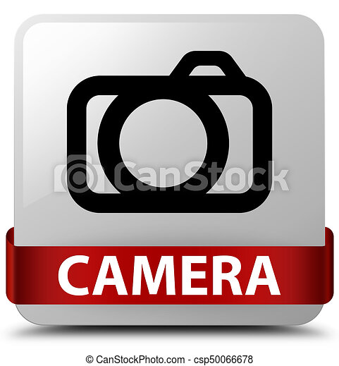 Camera white square button red ribbon in middle - csp50066678