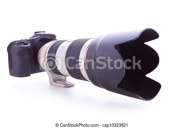 camera with 70-200mm, f2.8 zoom lens  - csp10323821