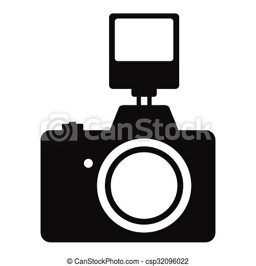 Camera With Flash Simple Icon Isolated On White Background