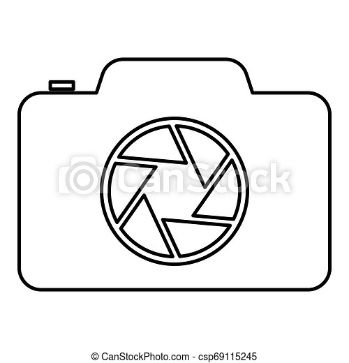 Camera with focus of lens concept icon outline black color vector illustration flat style image - csp69115245