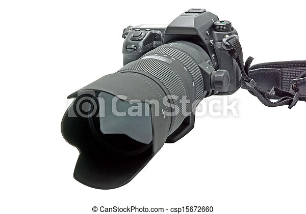 Camera with zoom lens isolated on white - csp15672660