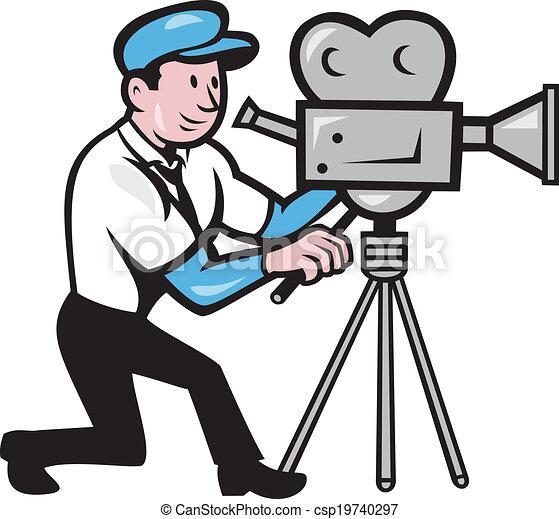 Cameraman Vintage Film Movie Camera Side Cartoon