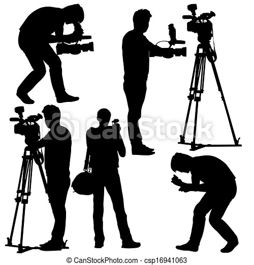cameraman with video camera silhouettes on white clip art vector rh canstockphoto com video camera clipart images clipart video surveillance camera