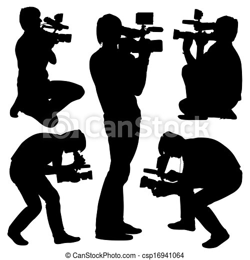 Cameraman with video camera. Silhouettes on white background. Vector illustration. - csp16941064