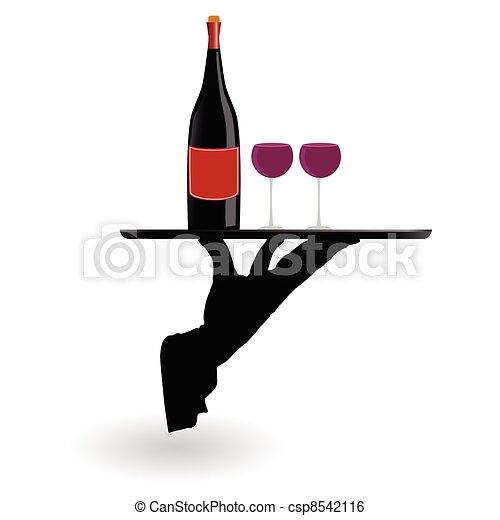 cameriere, carrello porta, occhiali, vino - csp8542116